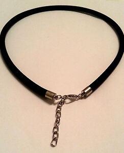 Modeschmuck kette schwarz  Modeschmuck Kette schwarz Halskette mit Stoffband Karabiner 46cm ...