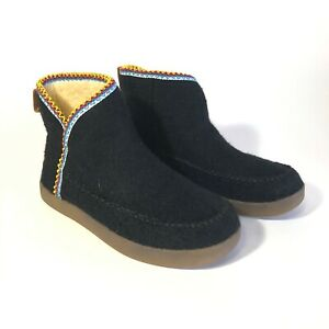 Sanuk-Nice-Bootah-Women-039-s-Black-wool-Upper-Ankle-Bootie-Sz-7-M-Shoes-NEW