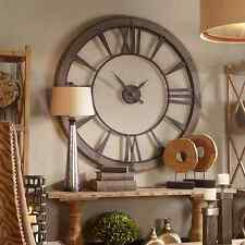 "HUGE 60"" DARK RUSTIC BRONZE ROUND WALL CLOCK BIG ROMAN NUMBERS RUST GRAY FRAME"