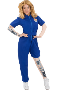 Orion Costumes Womens Blue  Bionic Woman Jumpsuit 70s TV Fancy Dress Costume