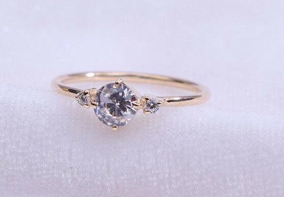 10K solid gold Ring diamond ring wedding ring solitaire ring Unique ring
