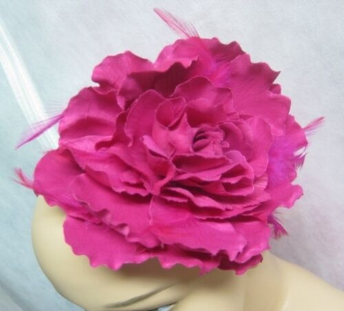"""12 Wholesale 5/"""" Fuscia Flower Headbands With Feathers New With Tags #H2011-12"""