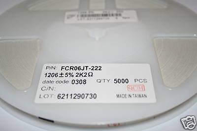 Bobine Résistance 1206 2K2 5/% CMS SMD 2.2K ohms FCR06JT 222 resistor