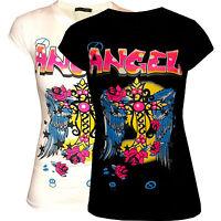 Shirt, T-shirt, Shirts, Damenshirts, Mit Druck, Angel, Schwarz, Weiß, Xs-m