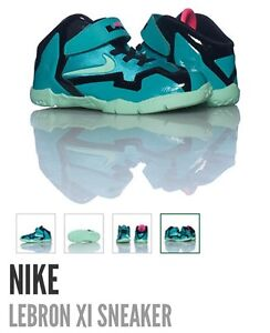 buy popular d0624 bdffa Image is loading Nike-Lebron-11-DS-South-Beach-Kids-Message-