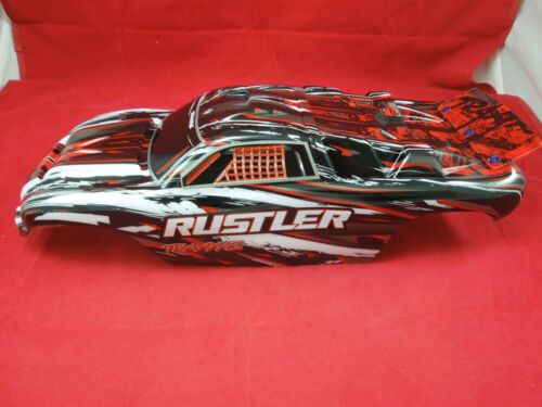 TRAXXAS RUSTLER RED BLACK WHITE BODY AND DECALS NEW vxl xl-5 brushless