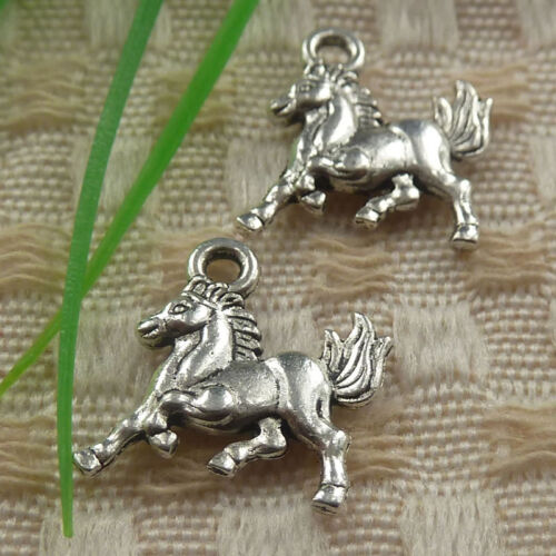 free ship 85 pieces tibetan silver horse charms 15x14x2.5mm #4391