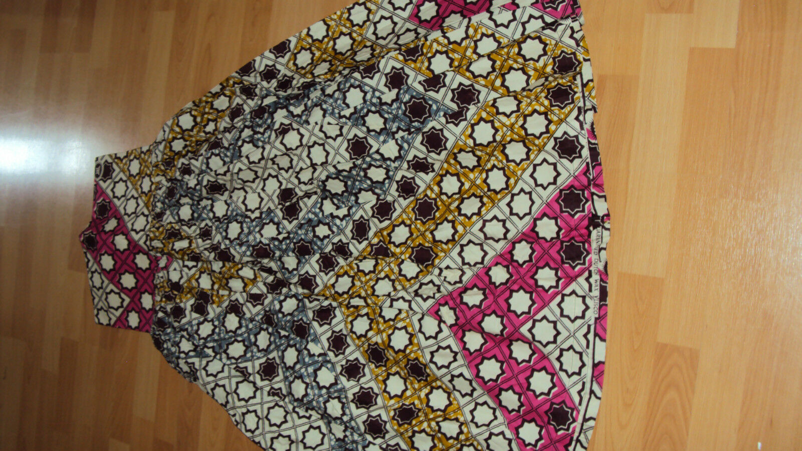 ANKARA African Print Brown Multi Gathered Long / Full Length Skirt UK 12