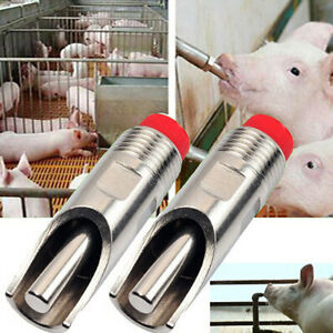 Pig-Swine-Livestock-Stainless-Steel-Waterer-Drinkers-Nipples-Water-Drinking