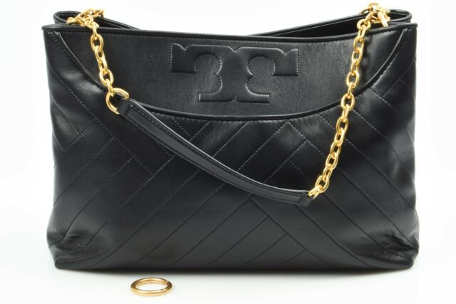 Tory Burch Alexa Slouchy black leather quilted logo tote handbag purse $595