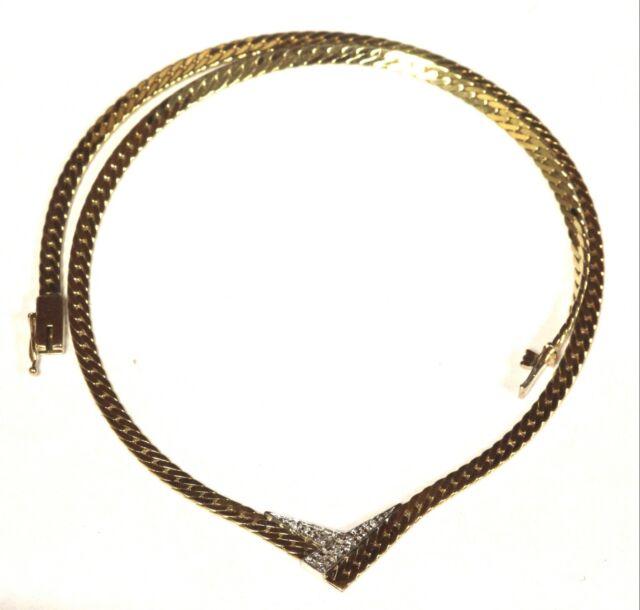 14k yellow gold .09ct VS G diamond V shape herringbone necklace 12g