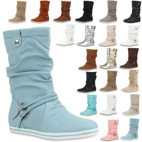 Bequeme Damen Stiefel Flache Schlupfstiefel Boots 890467 Trendy