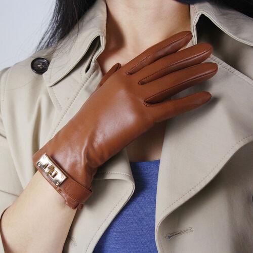 TECH GLOVES Real Leather Short Brown Lambskin Sheepskin Golden Button Closure