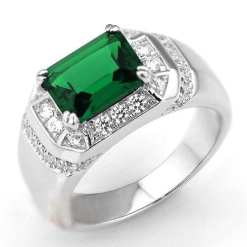 Classic Handmade Men Green Emerald 925 Silver Band Ring Not turn Green Size 9-11