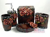 Western Floral Decorative Bathroom Set 5 Pieces Tooled Leather Look Roses Studs