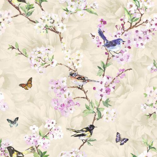 Birds Butterflies Flowers Floral Wallpaper Trees Nature Garden K2 Maylea Neutral