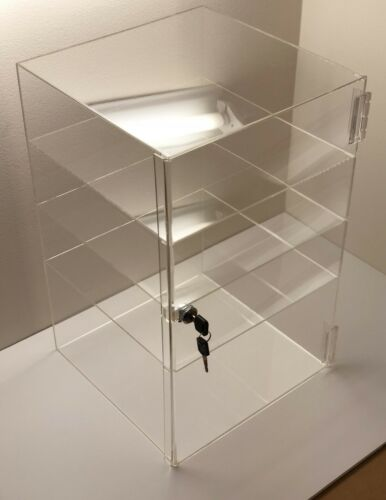 "Acrylic Counter Top Display Case 12/""x 12/"" x16/""Locking Cabinet Showcase Boxes"
