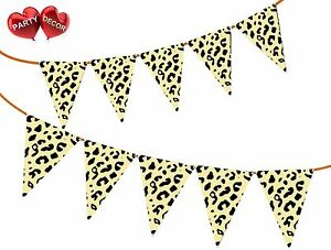 Safari-Animal-Cheetah-Spots-Imprime-Theme-Bunting-Banniere-15-drapeaux-par-Parti-Decor