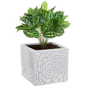 6-Inch-Decorative-Spiral-Design-Square-White-Ceramic-Plant-Flower-Container-Pot