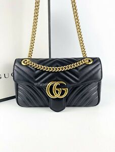 Gucci Marmont Black Small Matelasse Chain Bag in Gold Hardware