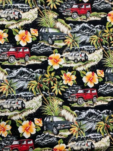 Black Hawaii Pick Up Trucks /& Palm Trees  Printed 100/% Cotton Poplin Fabric.