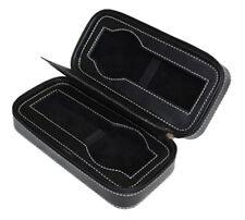 2 Watch Black Leather Velvet Travel Zippered Storage ZIPPER Case Mens Pouch Gift
