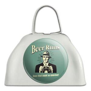 AgréAble La Bière Coule ça Compte Comme Exercice Drôle White Cowbell Cow Bell Instrument-afficher Le Titre D'origine éLéGant Dans Le Style