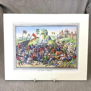 Rare-Antique-Print-Froissart-Chronicles-Battle-of-Montiel-Franco-Castilian-War