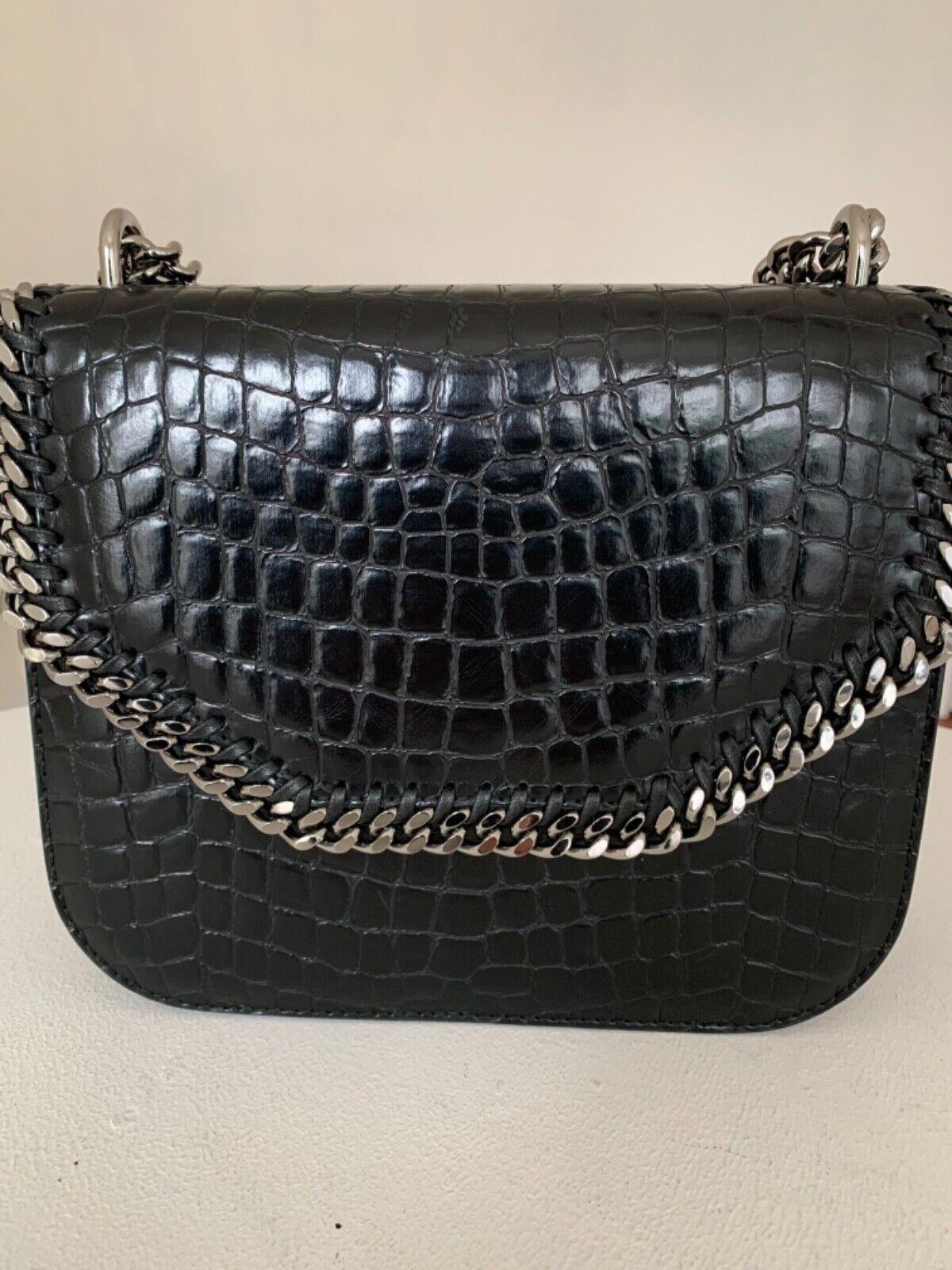 Stella Mccartney Fallabella Studded Croco Embossed Leather Shoulder Bag
