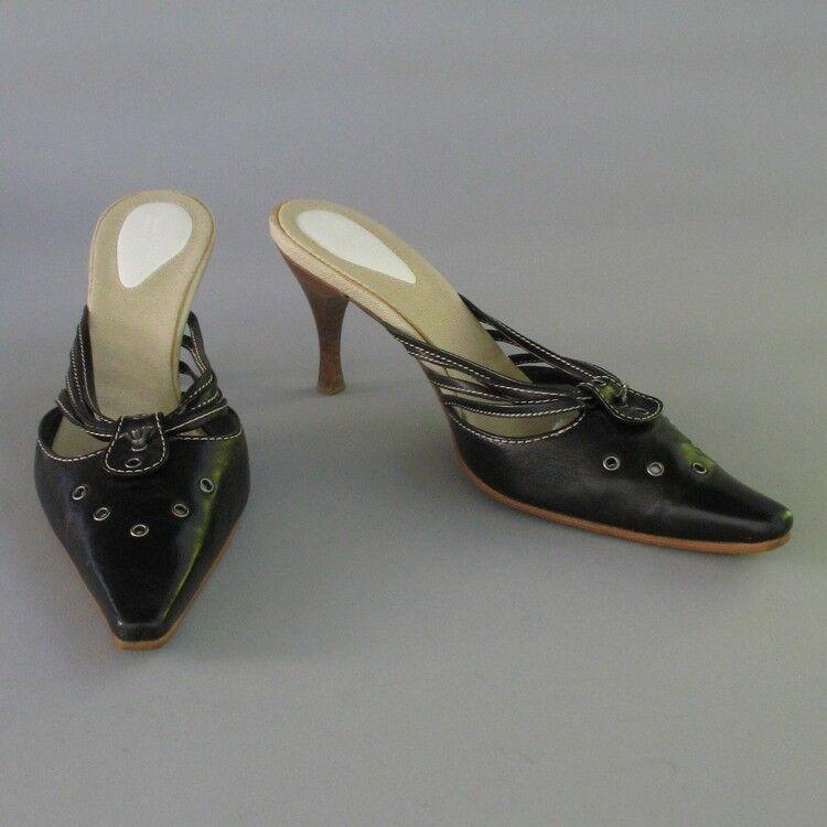 Bottega Veneta en Cuir Noir Escarpins Talon Haut Mule écrou papillon Bracelet de Sandale 6 36