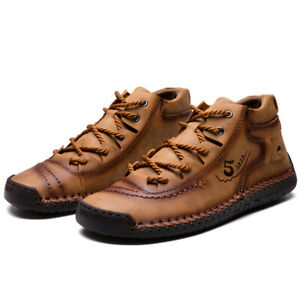 Men-039-s-Hand-Stitching-Leather-Boots-Loafers-Casual-Breathable-Antiskid-Shoes