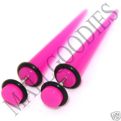 0376 Fake Cheaters Faux Illusion Ear Stretchers Tapers Plugs 0G Dark Hot Pink