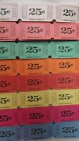 400 ''25 Cent Single Roll 1-part Raffle Tickets - (8 Colors - 50 Of Each Color)
