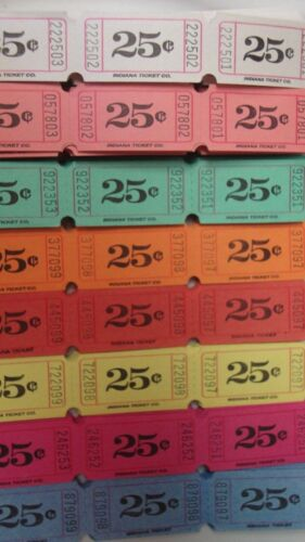 8 colors 50 of each color 400 Single 25 Cents Consecutive Flat Raffle Tickets
