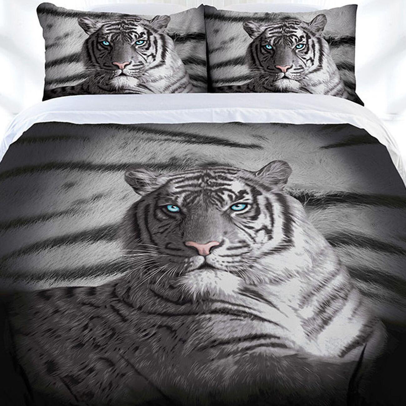 Blau Eyes Stripe Weiß Tiger Duvet   Doona Quilt Cover Set   Queen