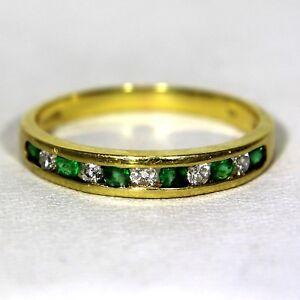 Quality-Natural-Emerald-amp-Diamond-18ct-Yellow-Gold-Half-Eternity-ring-N-6-3-4