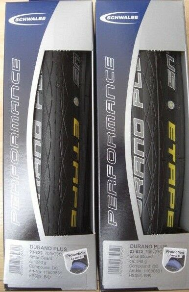 Schwalbe Durano Plus Etape Folding Tyres, a pair of 700x23c or 23-622
