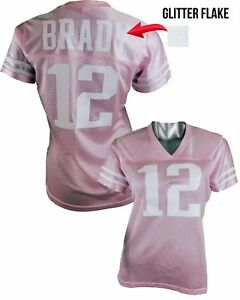 Details about Custom Womens Blinged Football PINK/White Jersey, Tom Brady