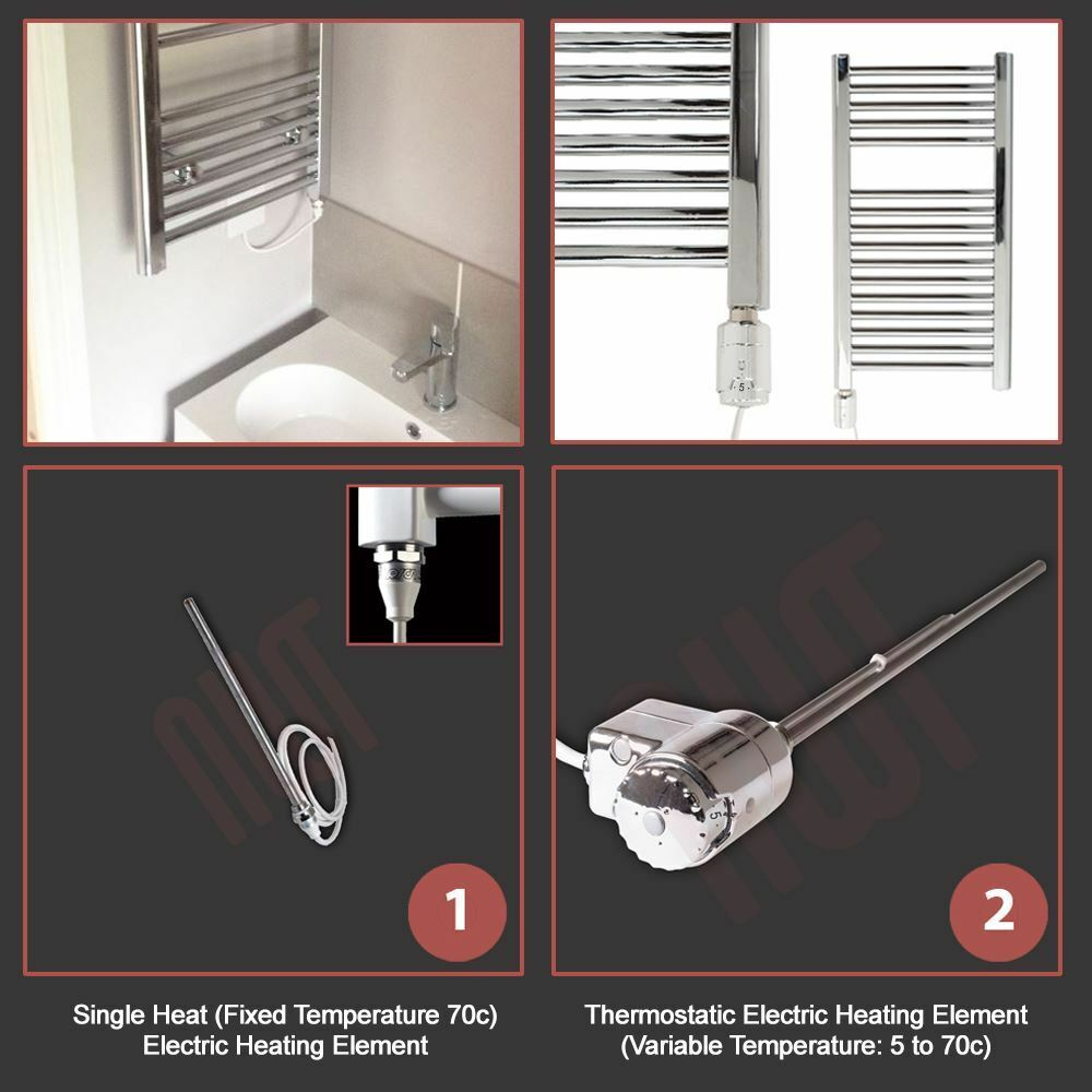 700mm(w) x 1200mm(h) Pre-Filled Pre-Filled Pre-Filled Electric  Barmouth  Chrome Towel Rail - 300W 6bf8a5