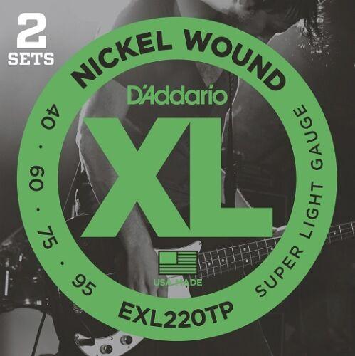 D/'Addario EXL220TP Twin Pack Long Scale Bass Guitar Strings Super Light 40-95