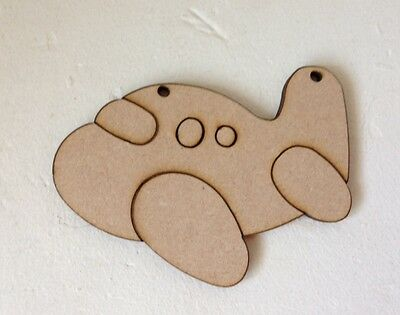 10 x AEROPLANES - 10cm - Wooden MDF Blank Craft Shapes Decoupage Tags Bunting