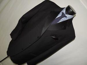 Joseph-Abboud-Men-039-s-formal-Black-3-button-Notch-lapels-tuxedo-jacket-coat-46-R