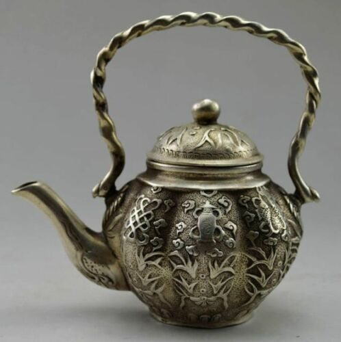 Old Chinese Handwork Tibet Silver Carved Flower Fish Tea Pot