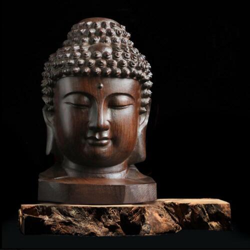 6CM High Chinese Wood Carved Shakyamuni Amitabha Buddha Tathagata Head Stat E8N3