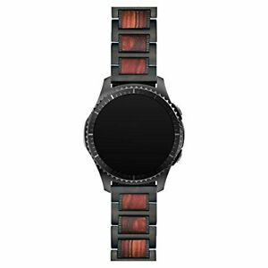 LDFAS Compatible for Galaxy Watch 45mm/46mm Bands, Gear S3 Black/Red Wood