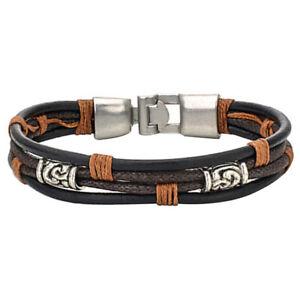 Herren-Damen-Armband-Tribal-Geflochten-Armreif-Leder-Seil-Legierung-Brau-M4Z5