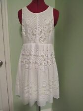 Free People ~ White Yellow Lace Overlay Sleeveless Dress ~ Open Back ~ Size 10