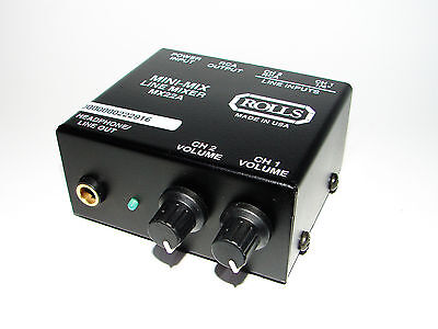 Rolls MX22A 2-Channel Mini-Mix Stereo Line Mixer,  Made in USA