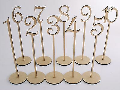 MDF Wooden Shape Table Numbers Stick Set with Base French with Painted Option