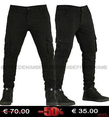 Pantaloni Uomo Cargo EFFEDENIM Jeans nero Tasconi Slim Elasticizzati Multitasche